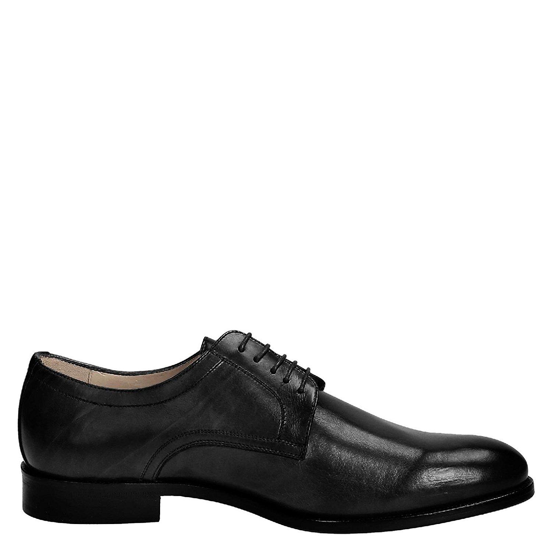 LEONARDO SHOES Men's 05798FORMA40FULLNERO Black Leather Lace-up Shoes