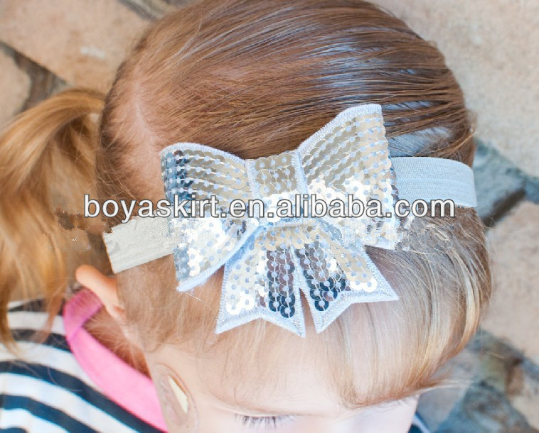 Wholesale trade kids headwear apparel accessories Computer embroidery flash bead piece big bowknot 10 colour hair accessories
