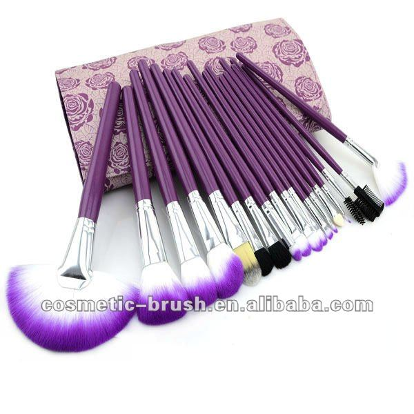 2012 New arrival best Professional purple color 18pcs without logo cosmetic make up brush kit/set
