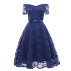 Full lace waist belt bow knot short sleeve strap a line 3xl plus size dress casual bridal