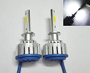 H1 COB Chip 80W 8000LM 6000K Auto Car LED Headlight Kit Bulbs LED Car Headlight Kit Conversion Kit 12V/24V Replace for Halogen or HID Bulbs 1 year warranty (H1)
