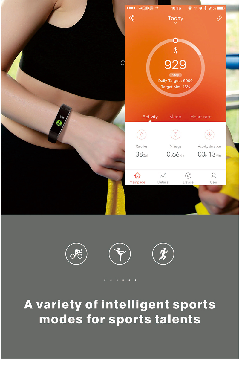 Multiple Sports Modes Activity Fitness Tracker Pedometer ID115 Pro HR