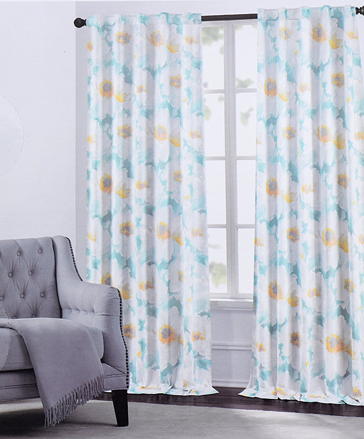 Get Quotations · Hillcrest Window Curtains Arlene Large Flowers Floral  Print Grey Or Turquoise Road Pocket Curtains 100%