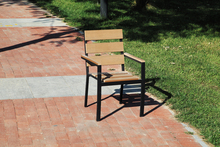 LX-T-009# wood PP board iron frame outdoor garden chair