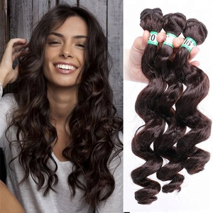 "16"" 18"" 20"" 3pcs/pack Heat Resistance Fiber Brazilian Weave Loose Deep Wave Hair Bundles for Afro Women Full Head"