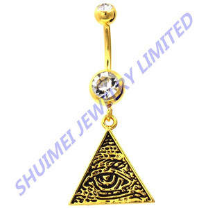 All Seeing Eyes of Providence Gold Plated Dangle Belly Ring Piercing Body Jewelry