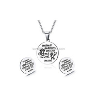 Custom Jewelry Wholesale Stainless Steel Cute Round Pendant Necklace And Stud Earrings Jewelry Set Gift For Mom