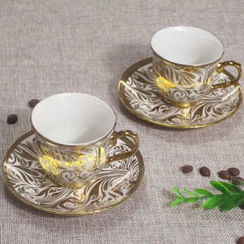 Arabic style coffee cup ceramic silver tea set gold flower classic style coffee cup 6 piece set