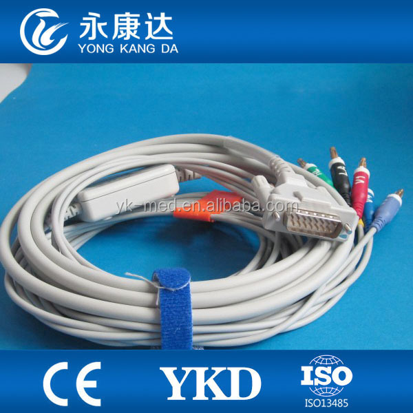Schiller for AT1/AT2/AT3 One -Piece series EKG Cable wIth AHA, no Resistance banana 4.0 type