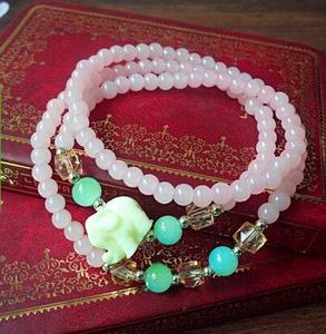Thailand buddha strand bracelets pure natural pink crystal stone beaded lucky elephant jewelry with pendant