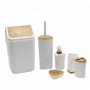 Hot Sell Promotional Plastic Wooden Bathroom Accessories Set 6 Pieces  Bathroom Set China