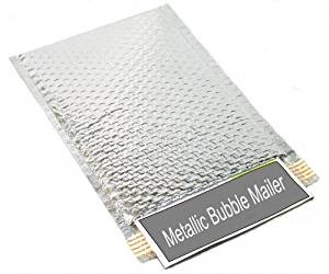 "Metallic Glamour Bubble Mailers Padded Envelopes Shipping Mailing Bags Silver - 7.5"" x 11"" 500/Case"