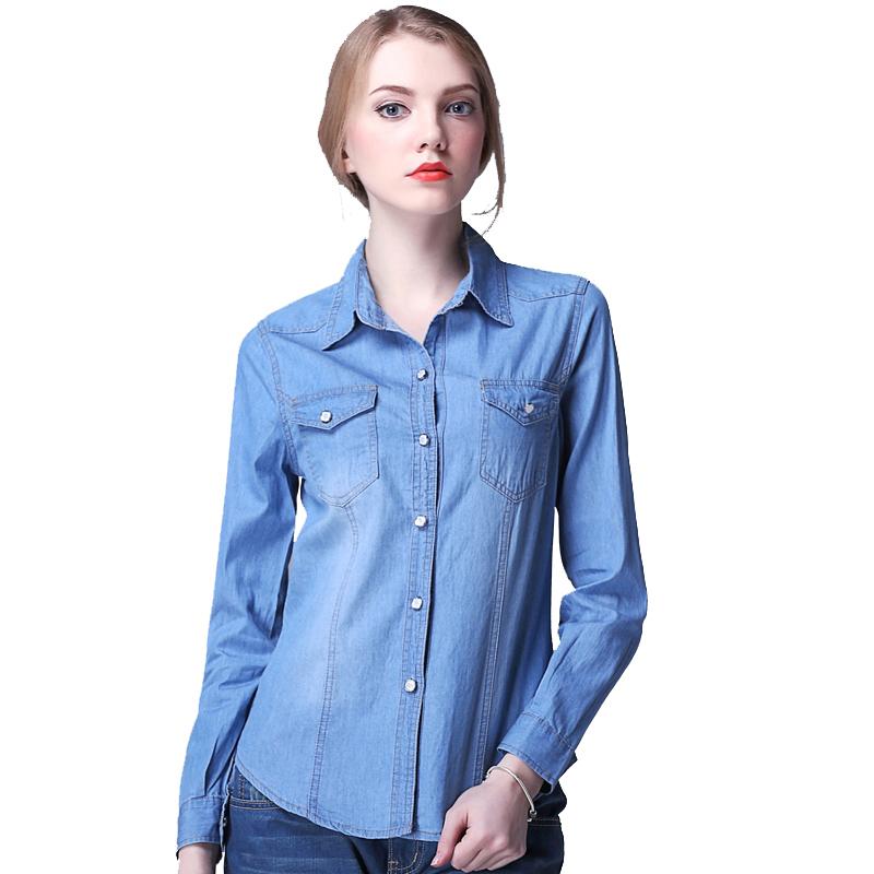 2015 New Casual Women Long Sleeve Blue Jean Dress Summer Autumn Cotton Denim  Shirt Dress Vestido Jeans Feminina a51215cb6