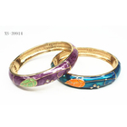 Factory Direct Colorful Alloy Gold Plated Cloisonne Bracelet Bangle With Leaves Pattern