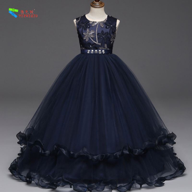 YIZHIQIU Sleeveless Princess Embroidered Flower Tulle Party Girl Dress