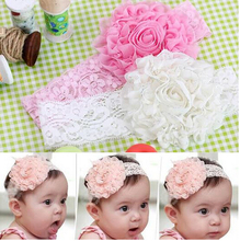 Lovely Baby Flower Bow Lace Headband Headwear Hair Band Girl Infant Toddler hair accessories children hair ornament 3 Colors 006