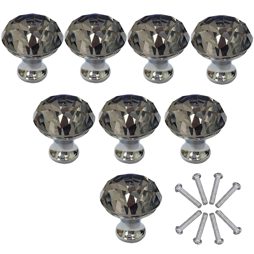 Etubby 8Pcs 30mm Diamond Shaped Luxury Crystal Knobs Glass Knobs with Screws for Drawer Door, Wardrobe Door, Cupboard Door, Kitchen, Etc - Gray