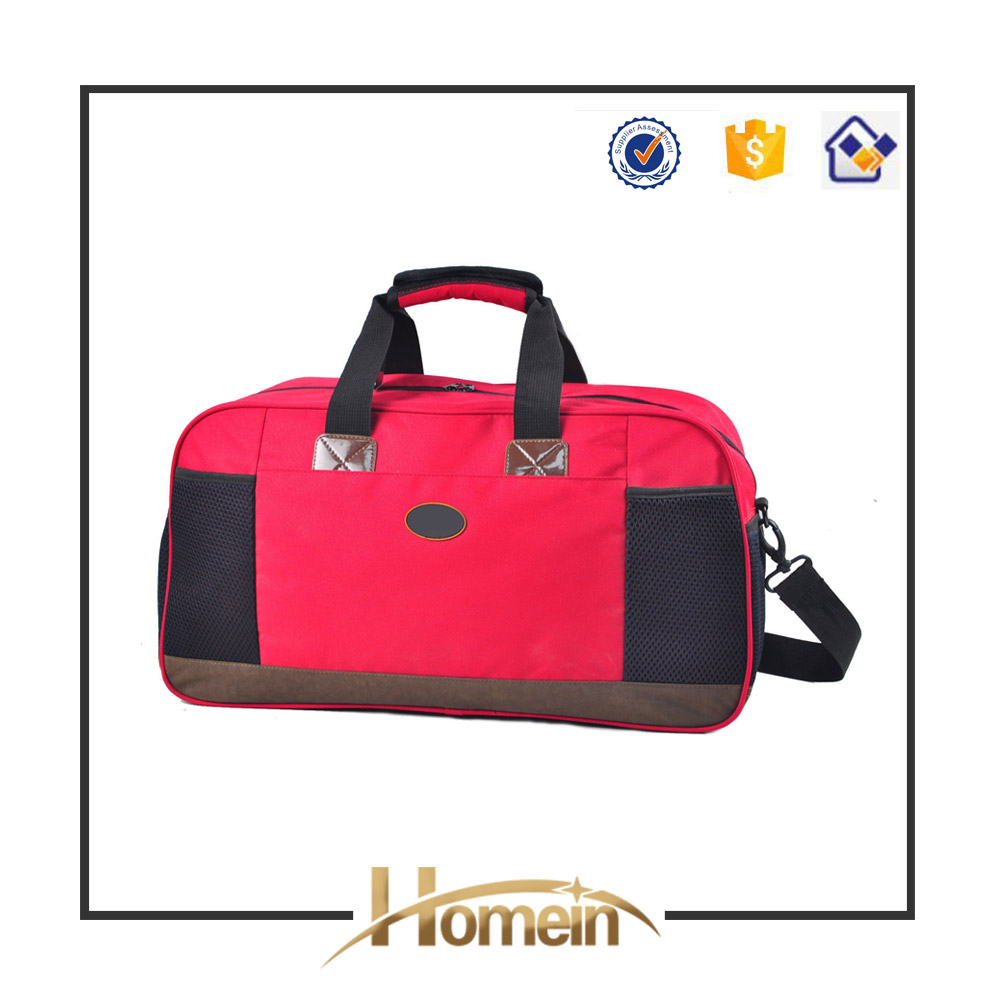 Hot sale Red 600D nylon brand sport travel bags