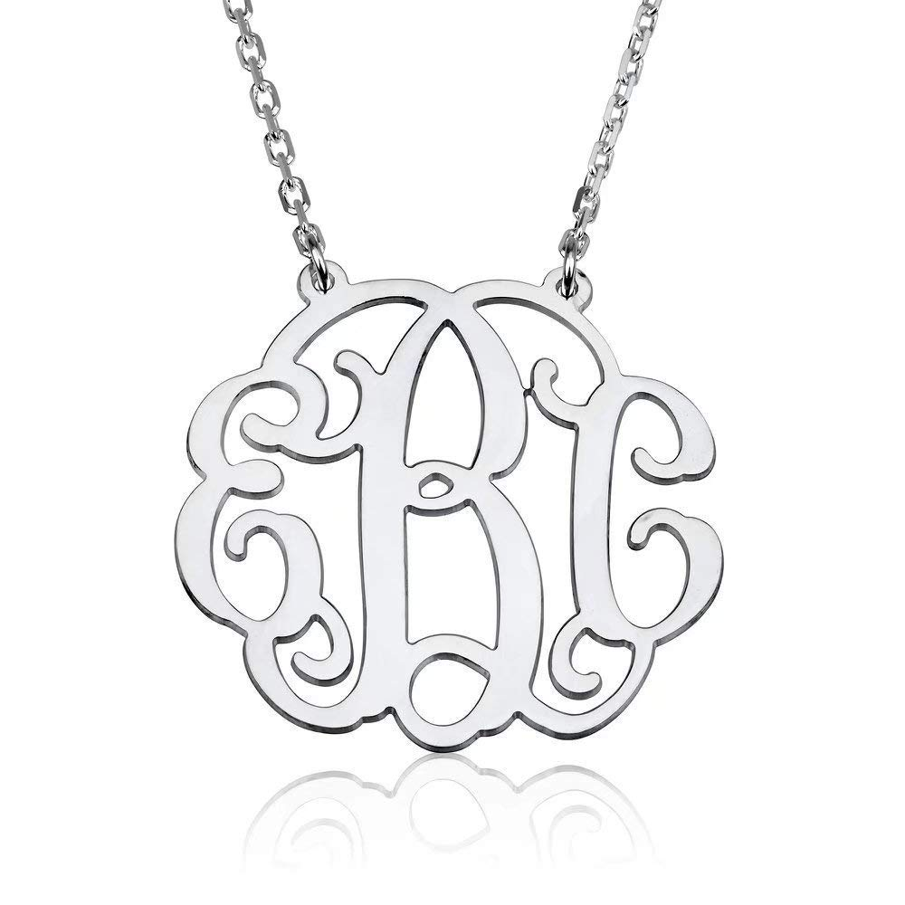 Froshine Monogram Necklace Sterling Silver Personalized Name Necklace Monogram Big Initial Necklace Custom Made with Any Initials