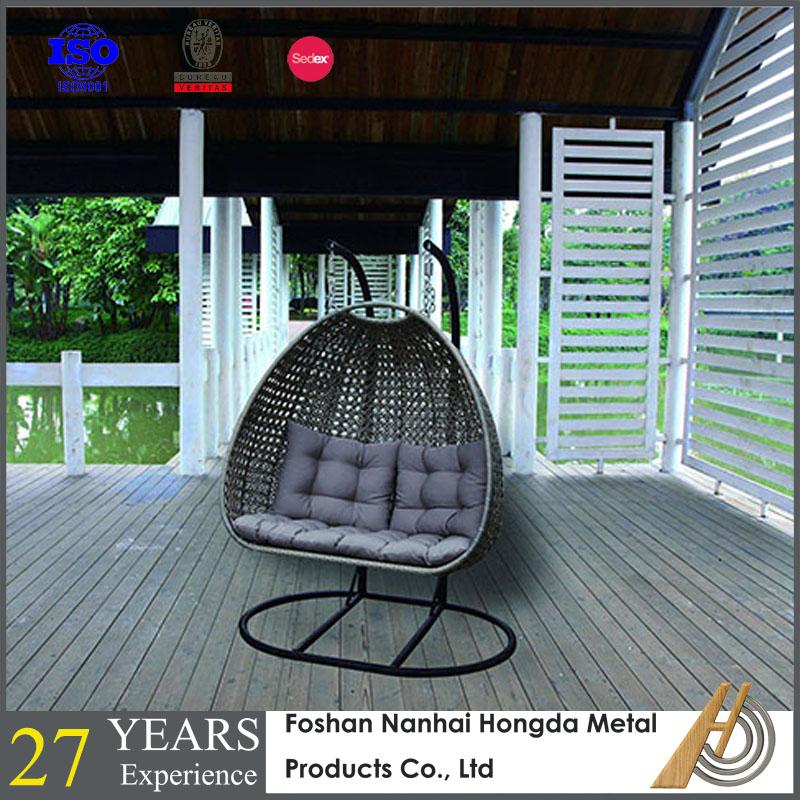 Jardín colgante silla de mimbre huevo con soporte-Columpios de patio ...