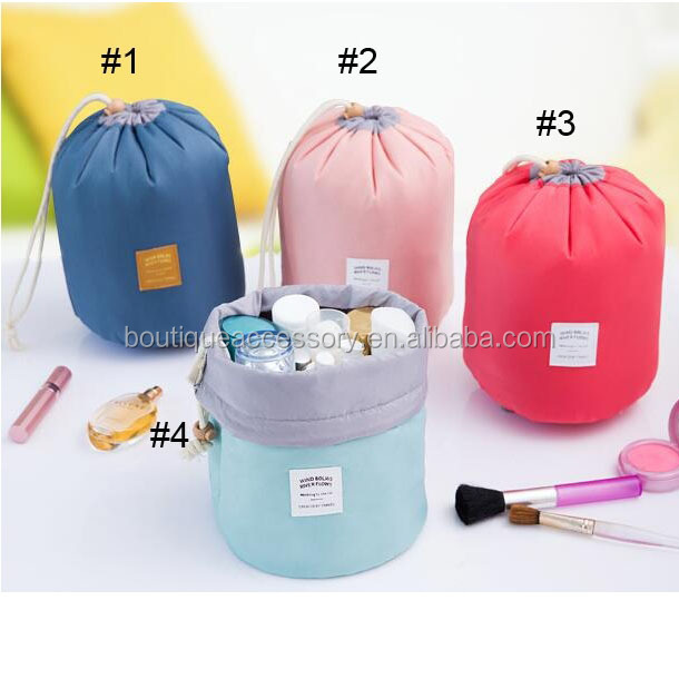 trendy barrel toiletry drawstring bag for woman makeup cosmetic bags