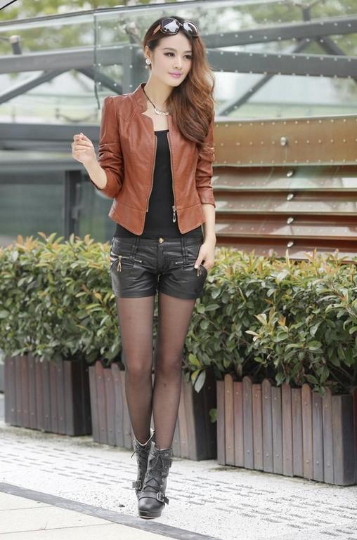 2015 мода зима мотоцикл кожаная куртка женщин, Короткие и тонкие молнии верхняя одежда черный / коричневый пальто для женщин
