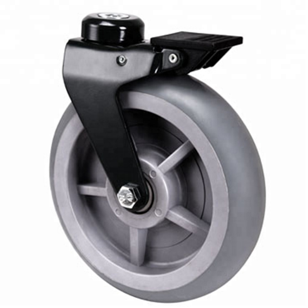 8 Inch Bolt Hole Stem Wheelchair Front TPR Wheels With Brake