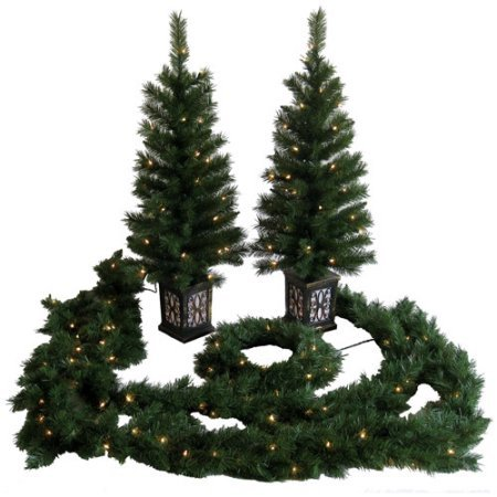 5-Piece Holiday Time Pre-Lit PVC Tree Entryway Set, UL Approved Clear Lights