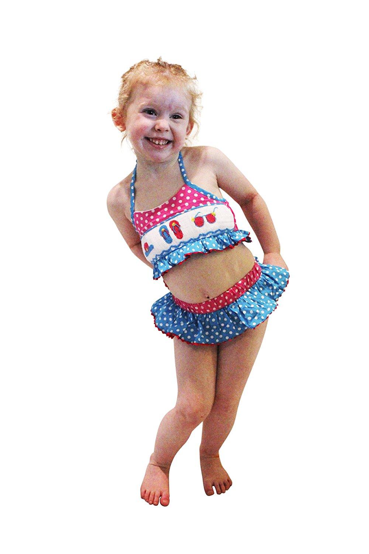 0cde6bc75a392 Get Quotations · Dana Kids Sun Hat Sunglass Flip Flop Smocked Bikini   Swimsuit  Girl Size 2T-7