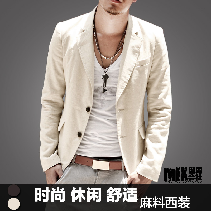 2012 autumn and winter fashionable casual linen suit mens