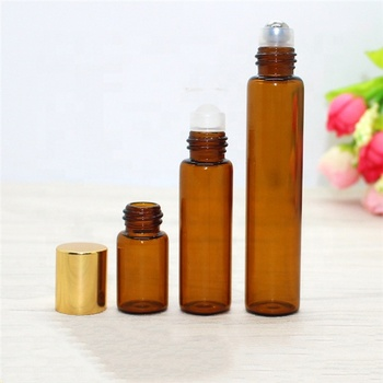 Amber empty roll on perfume bottle glass 3ml
