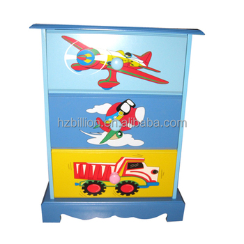 Wooden Hand Paint Plane Theme Kids Room 3 Drawers Beside Table Storage  Cabinet