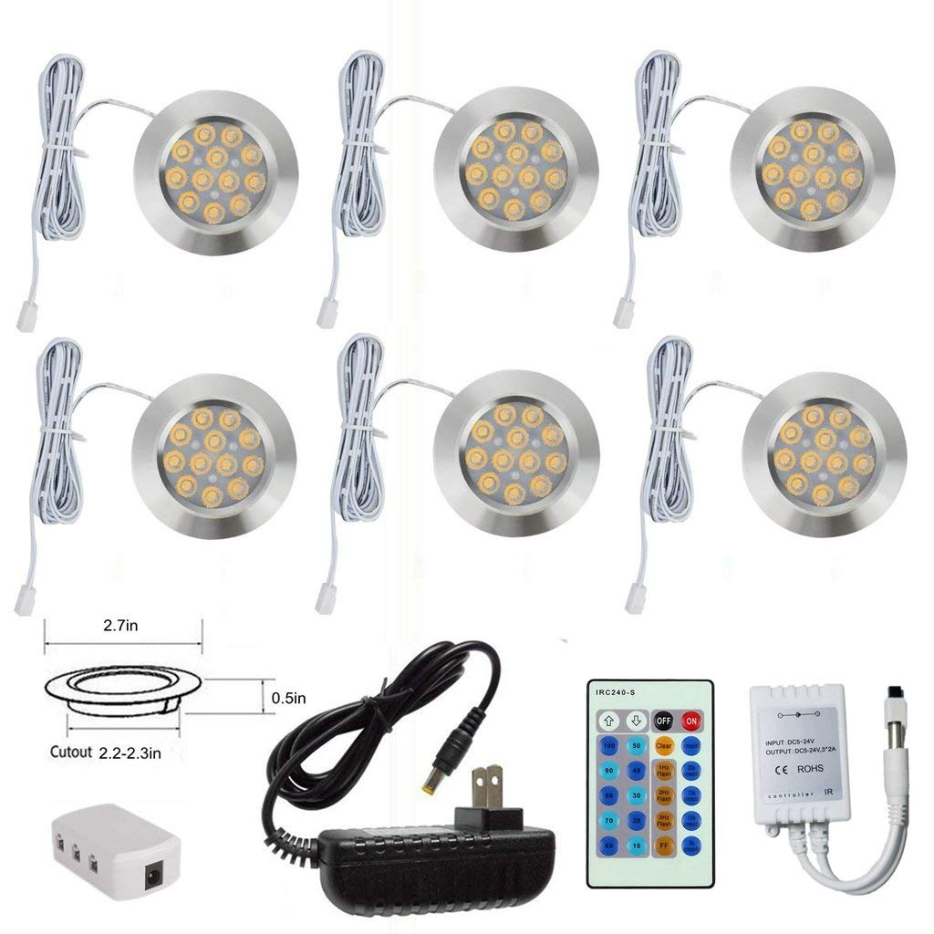 Xking k0783- 3w DC12V Silver Ultra-thin Concealed Dimmable LED Cabinet Lights / Spotlights / Downlights ,Includes 24-key dimmer,45° Beam angle ,270LM ,Total 18w (6 PCS/Set, Warm White)