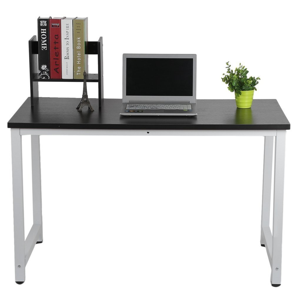 47 inches Computer Desk w/ Bookshelf & Metal Legs by Coldcedar | Simple Morden Style Writing Desk Works as Office Desk Study Table Workstation for Home Office, Black