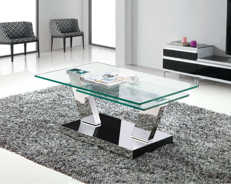 Square Glass Coffee Table Metal