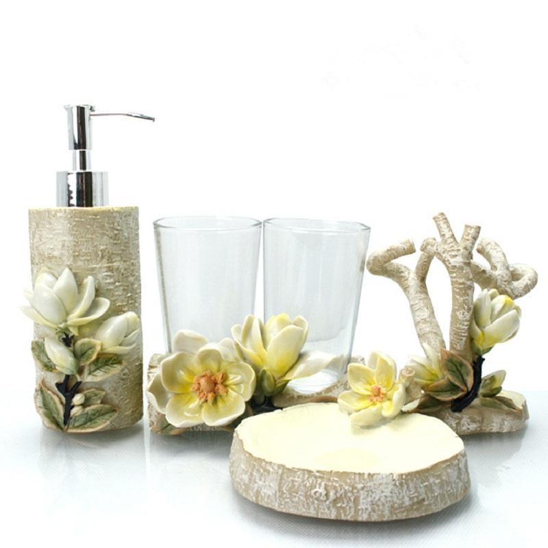 Elegant Bathroom Accessories Sets: Flower-Bathroom-Accessories-European-Tooth-Brush-Holder
