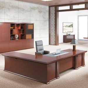 Commercial furniture project boss office real veneer teak wood executive desk