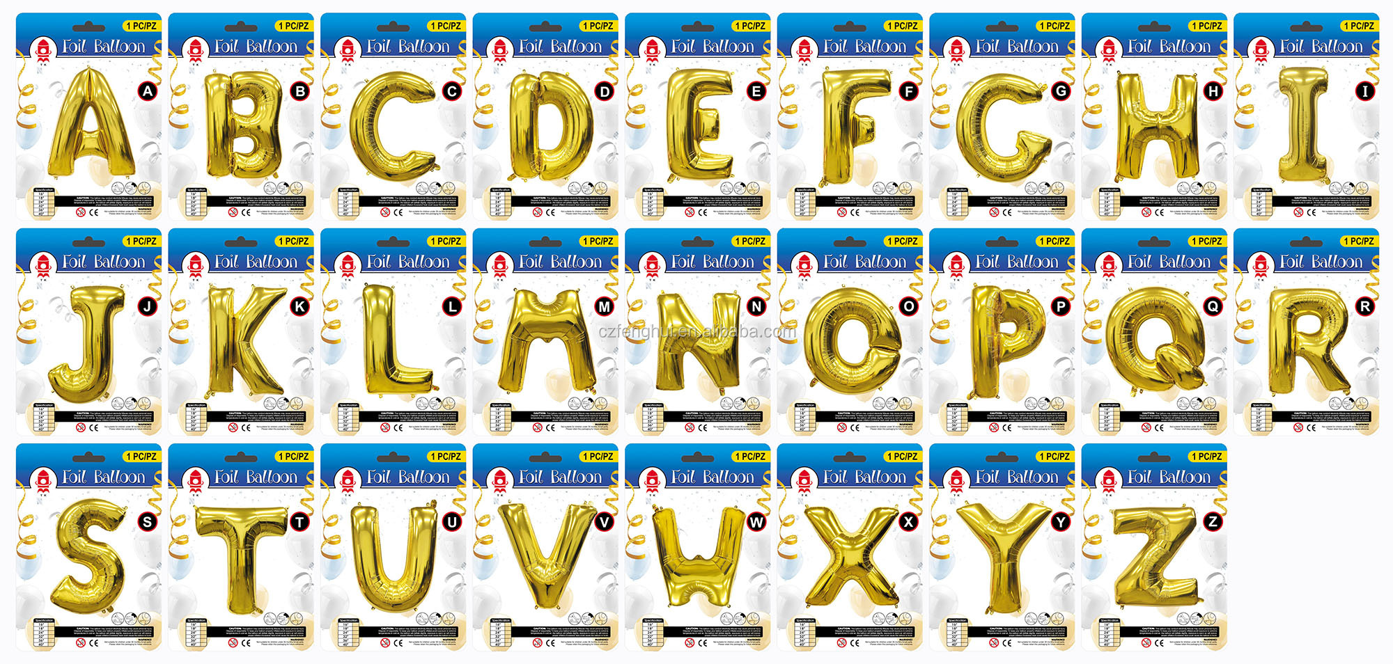 A-Z Letter&0-9 Number with Card 16/32/40inch Alphabet Helium Foil Balloon for Party Decoration