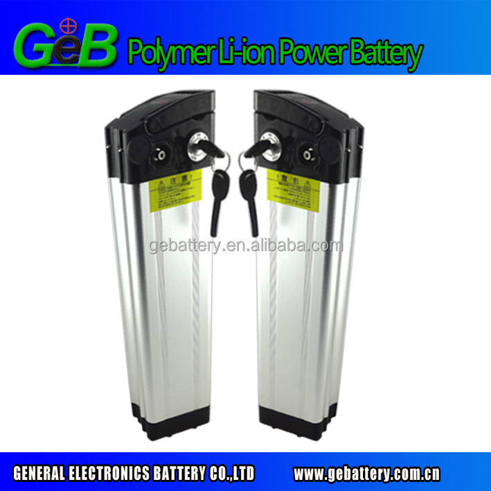 Good quality silver fish type 36v 10Ah e bike battery