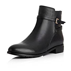 53ac9ed9685e Get Quotations · IXTT Tip the head layer cowhide leather short boots ankle  boots flat heel comfort single with