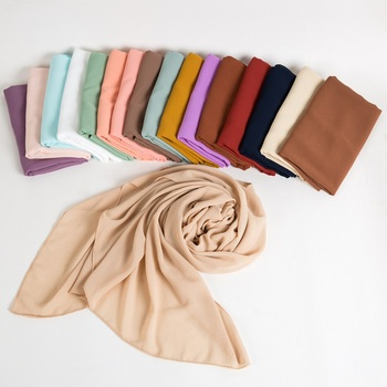 2019 new colors design hijab solid colors high quality thick pearl chiffon hijab heavy bubble chiffon shawl