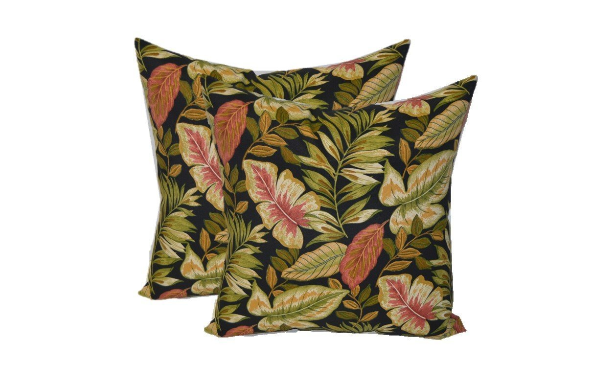 "Set of 2 - Indoor / Outdoor Square Decorative Throw / Toss Pillows - Twilight Black, Green, Tan, Burgundy Tropical Palm Leaf - Choose Size (17"")"
