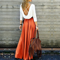 S-XL Solid Long Skirt Elegant Style Women Pleated Maxi Polyester Skirts Beach Boho Summer Skirts Femme ENG0368