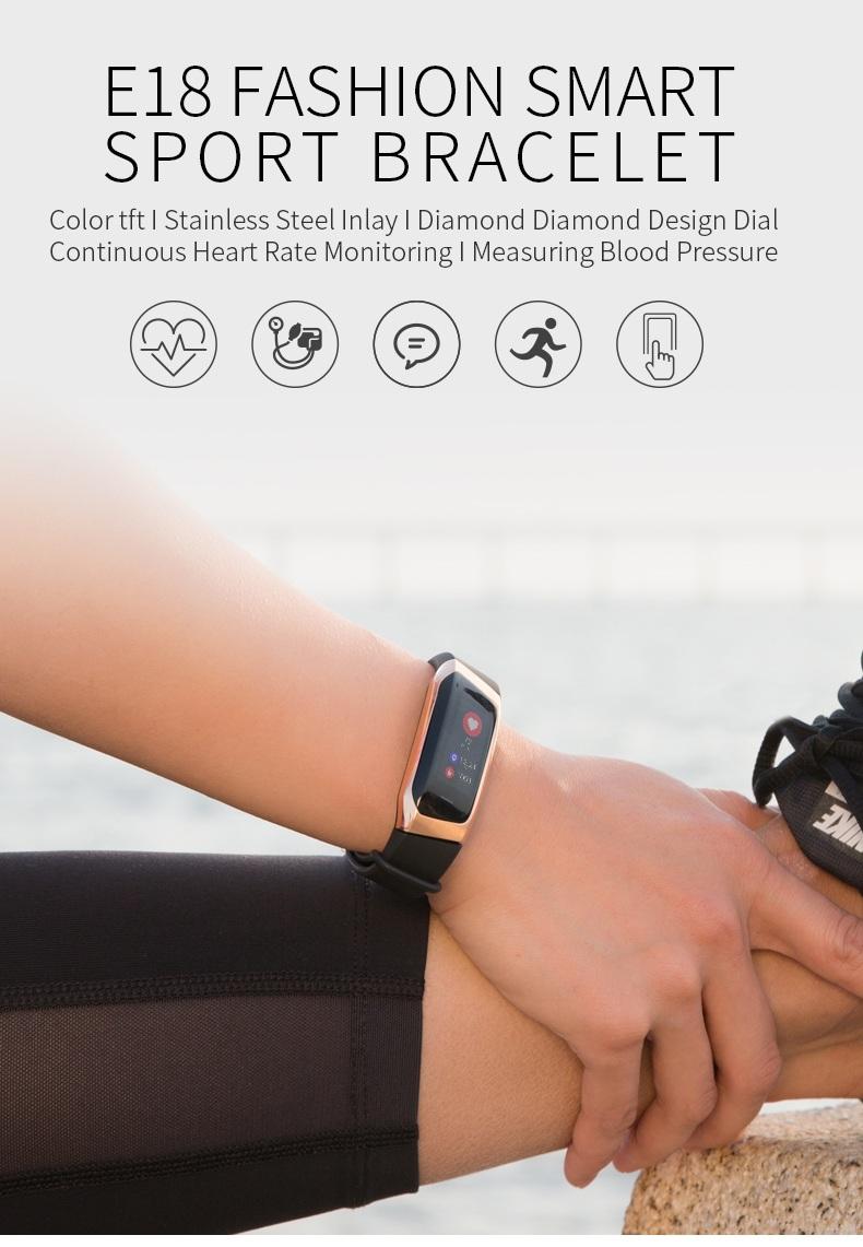 2018 Smart Fitness Watches Wearhealth app E18 smart bracelet fitness tracker