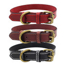 Amazon High Quality Copper-colored Genuine Cow Leather Dog Collar