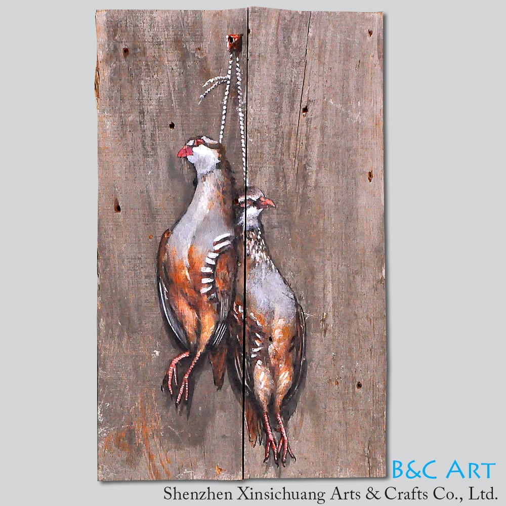 Handmade original animal wood craft oil painting