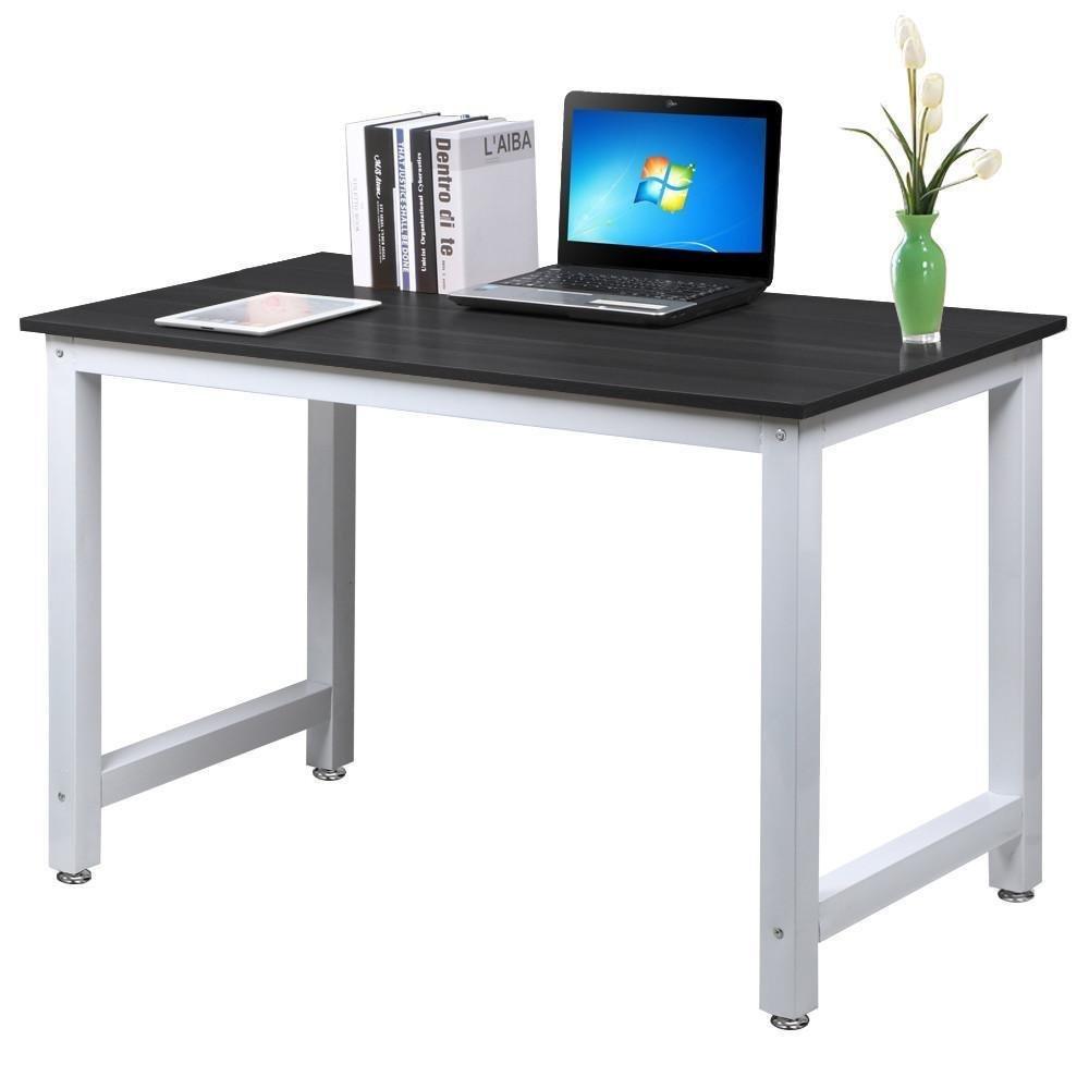 Modern Simple Design Computer Desk Office Desk Writing Table Study Table Office Workstation Meeting Desk Gaming Desk, Black + White leg