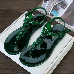 LM3915Q summer big size Jelly sandals flat beach sandals flat jelly shoes