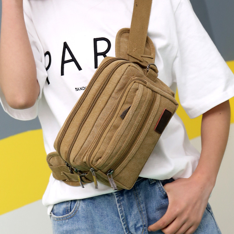 2019 China Wholesale new model trendy mens matte canvas shoulder messenger bag waist bag