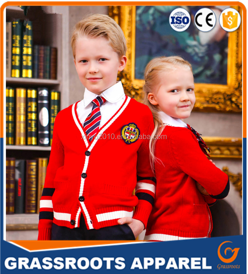 guangzhou manufacturer Custom high quality Red knit cardigan primary school uniform designs